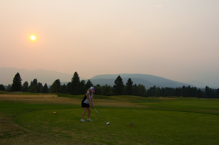 Teeing off at Bootleg Gap in Kimberley BC - P Worthington-8644