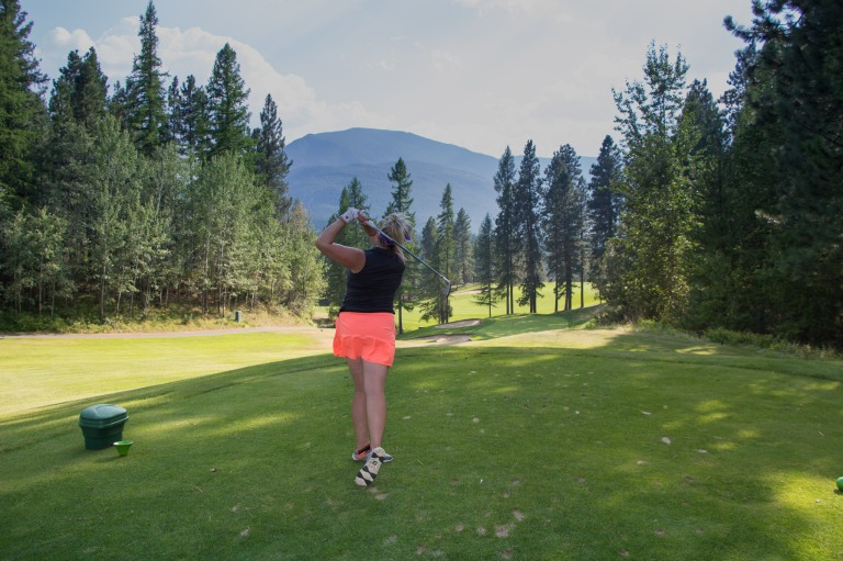 Teeing off at the classic Kimberley Golf Club in Kimberley BC - P Worthington-8669
